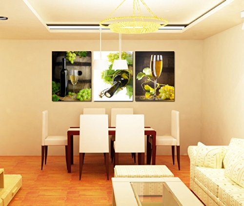 Yimei Art 3 Panels Wine Glass Modern Canvas Wall Art for Home Decor Photo Print on Canvas Giclee Artwork Framed 50x50cm