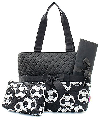Black Soccer Quilted Diaper Bag with Changing Pad and Accessory Case - 3 Piece by NGIL
