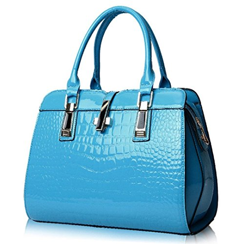 (Women's Tote Top Handle Handbags Crocodile Pattern Leather Cross-body Purse Shoulder Bags (Sky Blue))