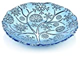 IVV Glassware Round Snowflake Glass Centerpiece with Chrome Decoration, 14'', Bright Blue