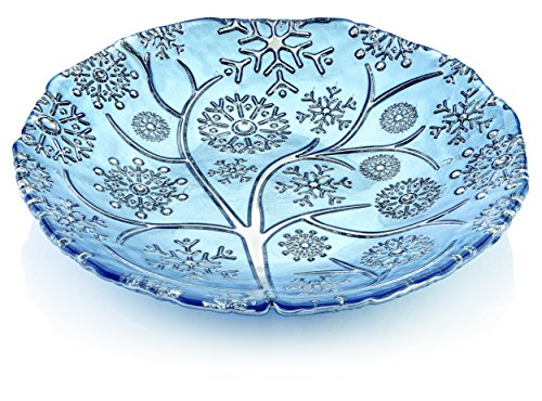 IVV Glassware Round Snowflake Glass Centerpiece with Chrome Decoration, 14'', Bright Blue by IVV Glassware