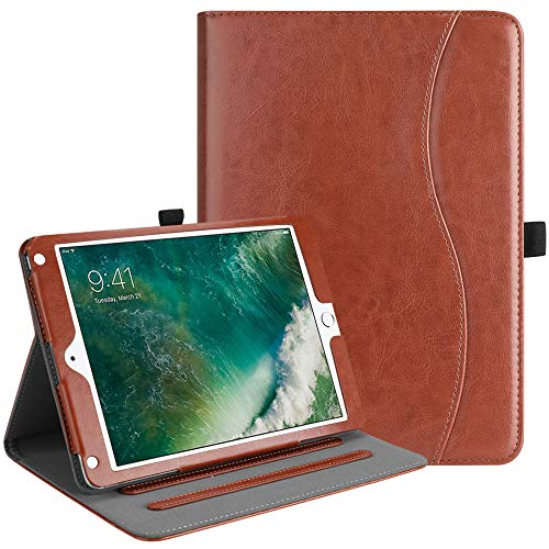 Fintie iPad 9.7 2018 2017/iPad Air 2/iPad Air Case - [Corner Protection] Multi-Angle Viewing Folio Cover w/Pocket, Auto Wake/Sleep for Apple iPad 6th/5th Gen, iPad Air 1/2, Saddle Brown