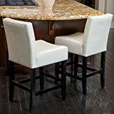 Bar Stool / Counter Stool, Christopher Knight Home Lopez Ivory Leather Counterstools 237522 with Bonded Leather and Hardwood,Set of 2