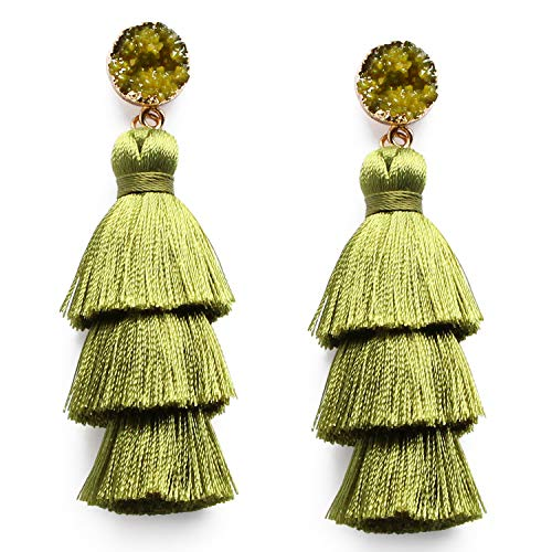 Olive Green Tassel Dangle Drop Earrings for Women 3 Layer Tiered Thread Army Green Tassel Fringe Boho Earrings Handmade Bohemian Jewelry ()