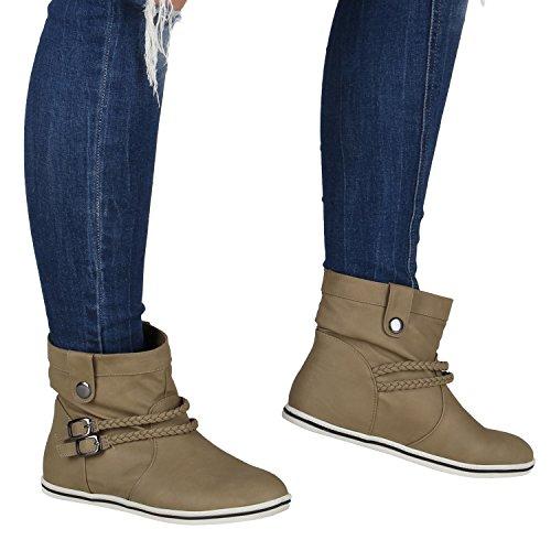 Stiefelparadies Damen Stiefeletten Sportliche Schlupfstiefel Leder-Optik Schuhe Flache Booties Schnallen Stiefel Boots Geflochtene Schnur Flandell Khaki
