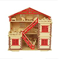 "NWFashion 17"" Wooden Dream Dollhouse 2 Floors with Furnitures Lights DIY Kits Miniature Doll House (Big House)"