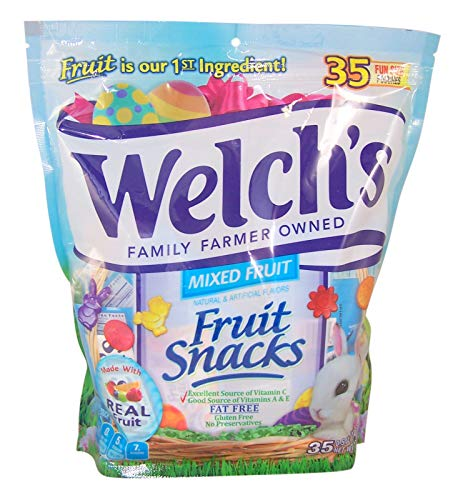 Welch's Easter Fruit Snacks Mixed Fruit Fun Size Packs, 35 Count Resealable Bag