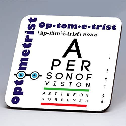 ✪ BRAND NEW FOR 2016 ✪ Whimsical Optometrist Hardboard Single Coaster ~ great for eyewear docs and for those in the medical profession!