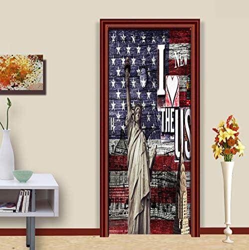 asfrata265 Etiqueta De La Puerta Retro Estatua De La Libertad Calcomanías DIY Etiqueta De La Pared Habitaciones Decoración De La Puerta Etiqueta para Home Wallpaper Poster Pintura 77X200Cm: Amazon.es: Hogar
