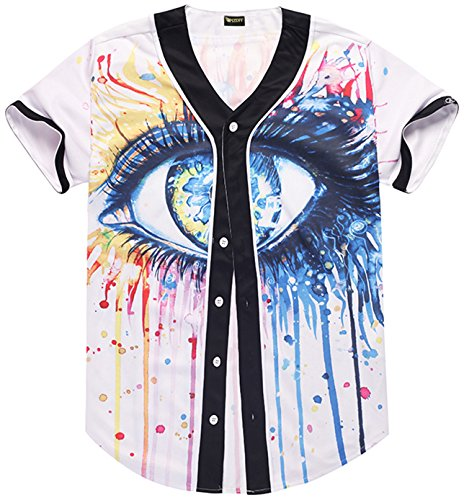 Pizoff Short Sleeve Baseball Team Jersey colorful Splatter Eye Basketball Shirt Y1724-49-S (Baseball Jersey Team Kids)