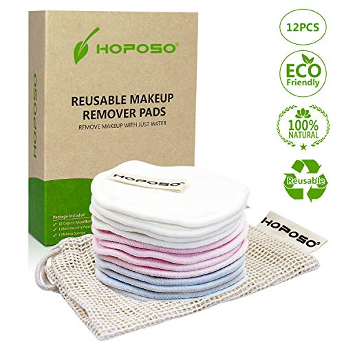 HOPOSO Reusable Cotton Pads Face Zero Waste 12 Pack Cotton Rounds Eye Makeup Remover Cloth Washable Cleansing Wipes Eco-friendly Bamboo Organic Cotton Rounds with Laundry Bag and Makeup Sponge
