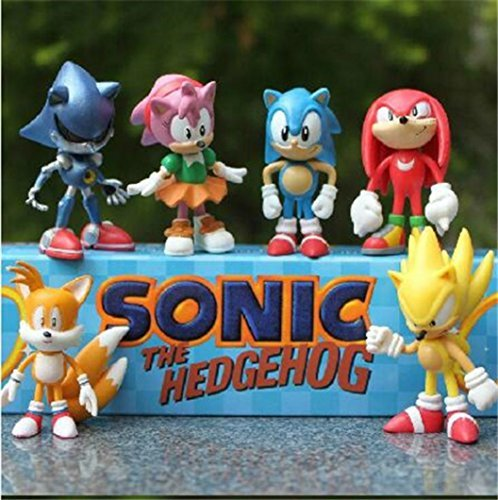 "Price comparison product image Sonic the Hedgehog 6 Piece 2.4"" Tall Action Figure Set / Toy Kids Figurines Cake Topper + Free Assorted Stickers / ToysOutletUSA"