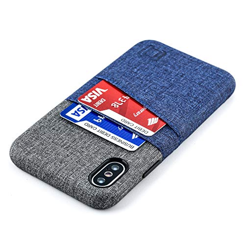 Dockem Luxe M2 Wallet Case for iPhone Xs and iPhone X; Built-in Invisible Metal Plate, Designed for Magnetic Mounting; Slim Canvas Style Synthetic Leather Card Case; M-Series [Navy and Grey]