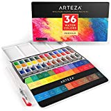 Arteza Premium Watercolor Paint Set, 36 Assorted Vibrant Colors Half Pans with Water Brush Pen for Artists & Art Painting in Tin Box
