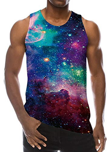 - Loveternal Galaxy Tank Top for Men Novelty Tees Colorful Regular Fit Nebula Star Cluster Big and Tall Purple Surf Rave Tank Sleeveless T-Shirt Gay Tank Tops XXL