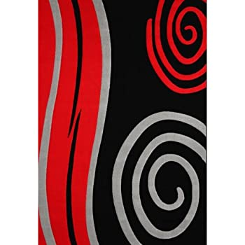 Amazon.com: Black with Red and Gray Swirl Transitional ...