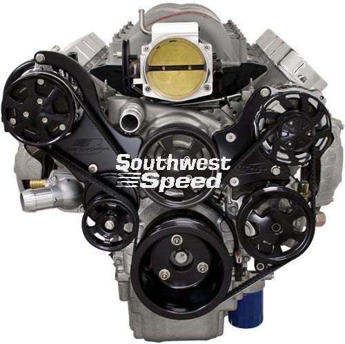 Nueva Billet Specialties anodizado negro tru-trac Chevy LS7 Kit de ...