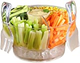 Product review for 6.5 Quart Chilled Salad Bowl Set by Harcas. Ice Serving Tray Dish with Serving Utensils, Dome Lid, 4 Way Divider & Dip Cup/Server. Shatterproof Acrylic. Best For Fruit, Caesar Salad, Taco or Nuts.