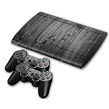 Sony PS3 Playstation 3 Super Slim Skin Design Foils Faceplate Set - Grey Wood Design