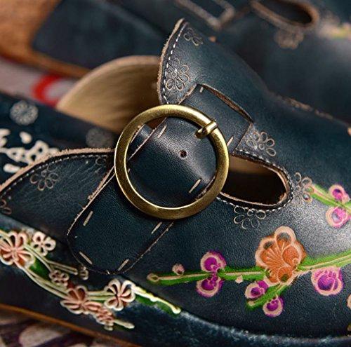 Women's Leather Belt Platform Liveinu Slipper Floral w4YwZ