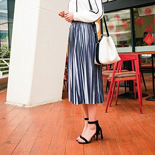 Sandales De Femmes D'été Dames Femmes Mi Talon Aiguille Chaussures Sandales D'été Peep Toe Chaussures à Talons Hauts Black Gwc4Z6l