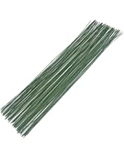Cinvo Stem Wire Floral Paper Wrapped Wire 14 Inch 22 Gauge Wire for Flower Arrangements DIY Bouquet Handcrafts (100 Counts, Dark Green)