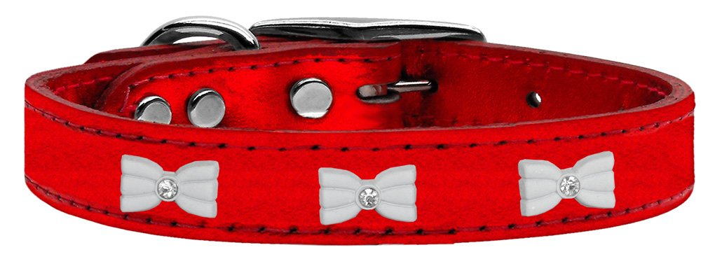 Mirage Pet Products 83-57 RdM24 White Bow Widget Genuine Metallic Leather Red Dog Collar by Mirage Pet Products