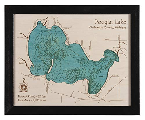 Indian Lake - Westmoreland County - PA (Proof Required) - 2D Map 11 x 14 in (Black Frame with Glass) - Laser Carved Wood Nautical Chart and Topographic Depth map.