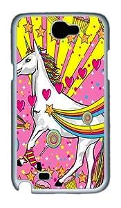 Pink Unicorn Custom Designer Samsung Galaxy Note 2/Note II / N7100 Case Cover - Polycarbonate - White