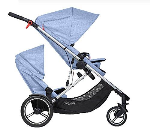 Phil and Teds Voyager Stroller WITH Doubles Kit (Blue Marl) by phil&teds