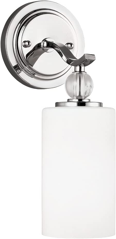 Sea Gull Lighting Englehorn One-Light Bathroom Light Or Wall Light With Etched White Inside Glass, Chrome Finish