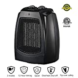 KOOLWOOM Ceramic Space Heater Mini Size with Thermostat for Office and Home Tip-Over Overheat Protection Oscillation 750W/1500W Black