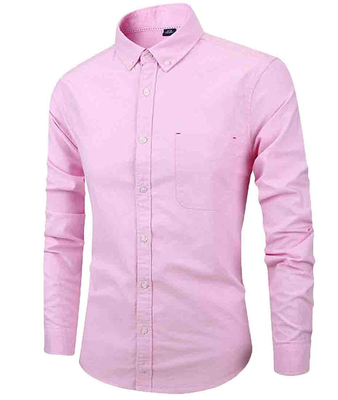 Twcx Mens Cotton Casual Oxford Single Breasted Flap Pockets Solid Color Skinny Shirt