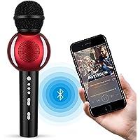 [Patrocinado] micrófono de karaoke, fnova Portable Bluetooth Reproductor de karaoke inalámbrico para iphone android Apple PC o Smartphone, handheld máquina de karaoke para el hogar KTV Party muisc jugando al aire última intervensión, Negro&Rojo