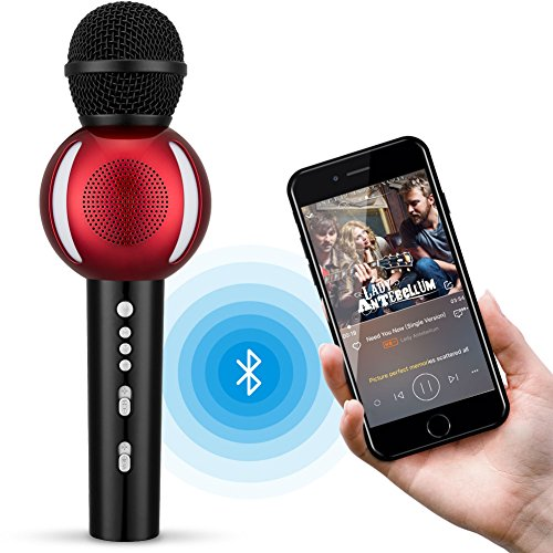 Wireless Karaoke Microphone, Fnova Portable Bluetooth Karaoke Player for iPhone Android Apple PC or Smartphone, Handheld Karaoke Machine for Home KTV Outdoor Party Muisc Playing (Black & Red) Karaoke Box