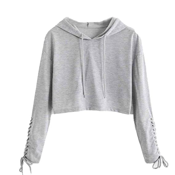 Spbamboo Women Hoodie Sweatshirt Jumper Sweater Crop Top Sports Pullover Tops at Amazon Womens Clothing store: