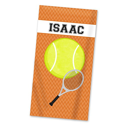 Sports Beach Towel - Orange Tennis Ball Personalized Name Light Weight Towel
