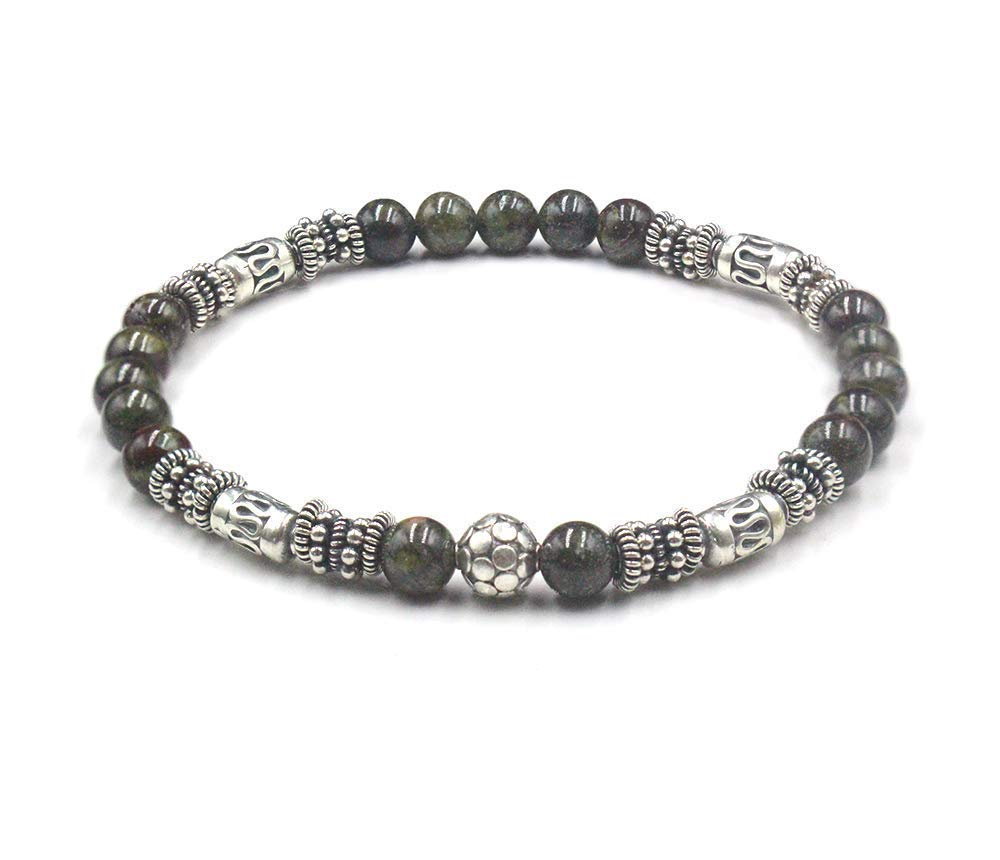 Bali Beads Bracelet Dragon JasperBracelet Dragon Bloodstone and Sterling Silver Bracelet