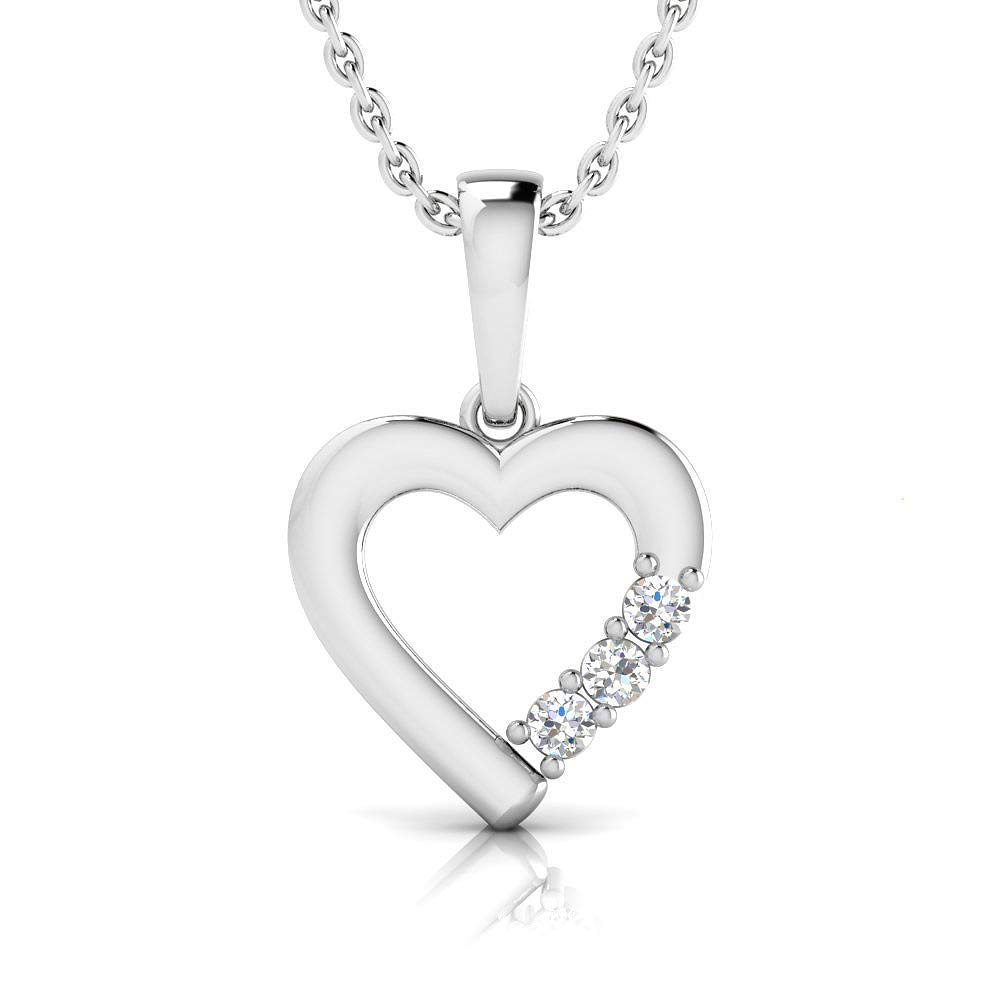 IGI Certified 1 20 Carat Natural Diamond Sterling Silver Heart Pendant for Women with Chain J-K Color, I2-I3 Clarity
