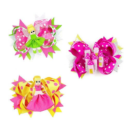 Price comparison product image Bundle Monster 2in1 Baby Girls Handmade Detachable Ribbon Bow Hair Clips-Set 1, Princess Fairy+Castle