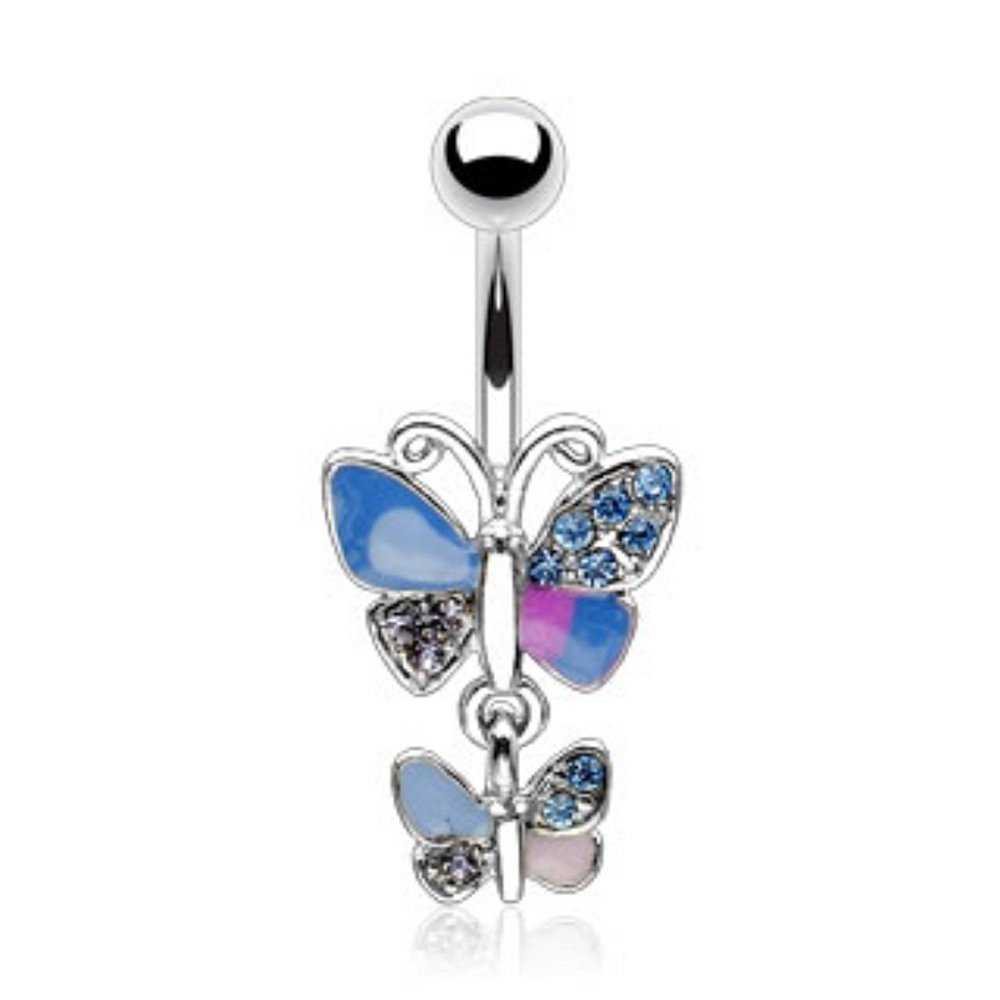 Amazon Com Covet Jewelry Wing Pave Gem Double Butterfly Navel Ring