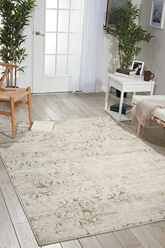 Nourison Euphoria Rustic Vintage Damask Bone Area Rug 7 Feet 10 Inches by 10 Feet, 7 10 x 10