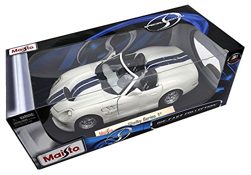 Shelby Series 1 White W Blue Stripes 1:18 Diecast Model Car by - 1 Shelby Series Model