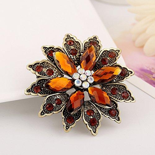 Jewby Fashionable Brooch Pins for Women Bouquet Flower Wedding Created Crystal Brooch ()
