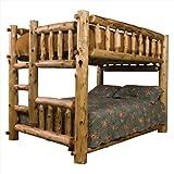 Fireside Lodge Furniture 10148 Cedar Right Ladder Log Bunk Bed, Queen/Queen, Traditional Cedar