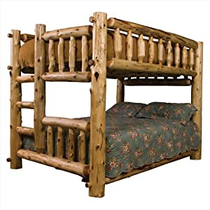 Fireside Lodge Furniture Traditional Cedar Hand Crafted and Hand Lacquered Northern White Cedar Complete Bunk Bed, Right Ladder, Queen/Double