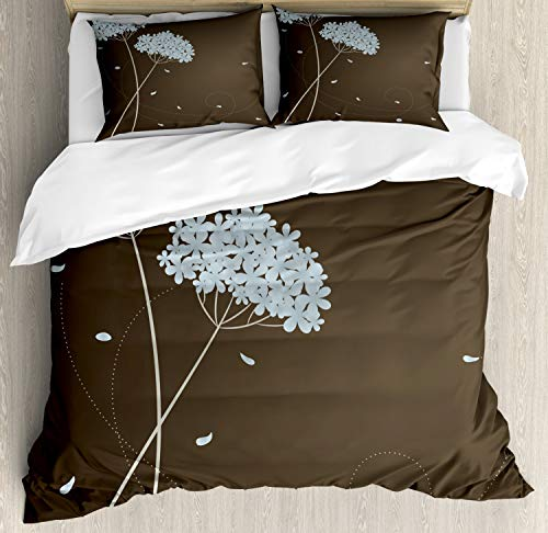 Ambesonne Brown and Blue Duvet Cover Set King Size, Floral Design with Swirl Lines Falling Leaves Autumn Inspired, Decorative 3 Piece Bedding Set with 2 Pillow Shams, Brown Seafoam ()