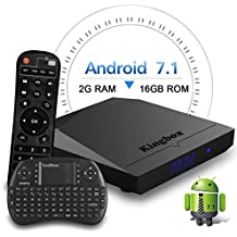 Kingbox Android TV Box, K3 Android 7.1 Box with Amlogic S912 Octa-Core 64 Bits 2GB/16GB support Dual WiFi 2.4+5GHz/4K UHD/BT 4.0/1000M LAN Android Smart TV Box, Free Mini Keyboard [Top Configuration]