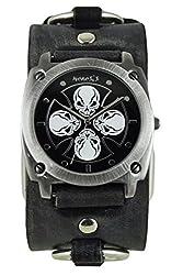 Nemesis Men's 932FRBK Skull Iron Cross Series Analog Display Japanese Quartz Black Watch