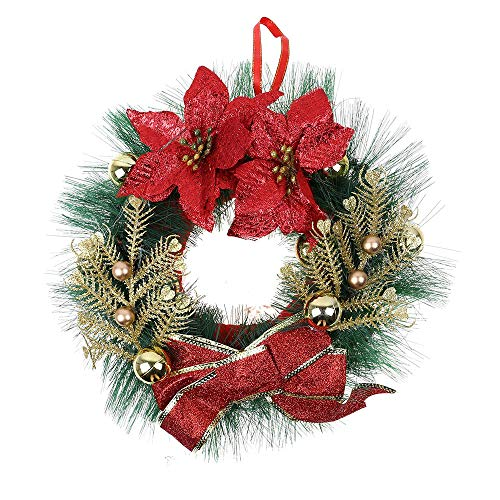 - SUKEQ 12 Inch Christmas Wreath, Merry Christmas Wreaths for Front Door, Poinsettia Pine Wreath for Indoor and Covered Outdoor Use, Wall Garland Decoration